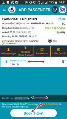 add passenger details