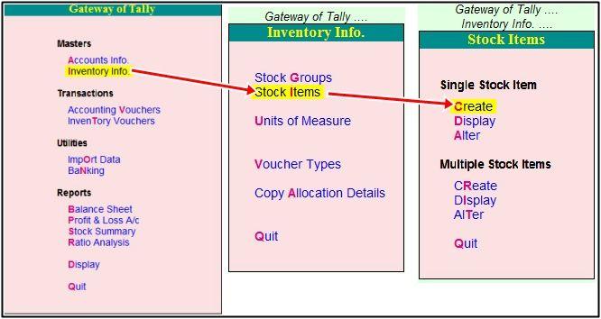 process of stoc item create