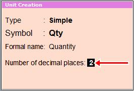 unit creation decimal places