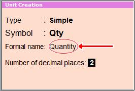 unit creation formal name