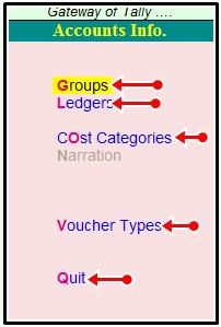 accounts info shortcut