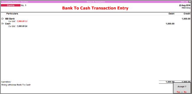 bank to cash transaction