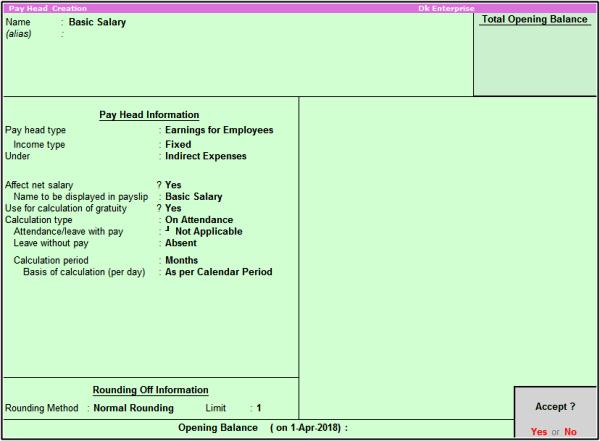 basic salary pay head