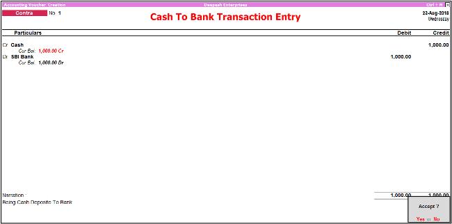 cash to bank transaction