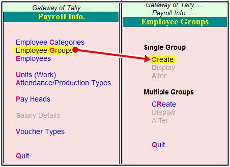 create groups of employee