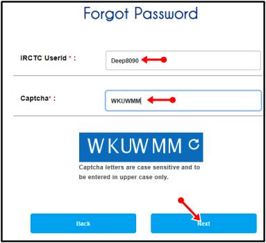 forget password irctc