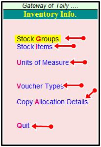 inventory voucher shortcut