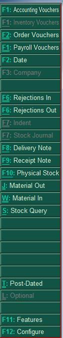 inventory voucher shortkeys