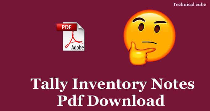 Tally Inventory Notes Pdf कैसे डाउनलोड करे?