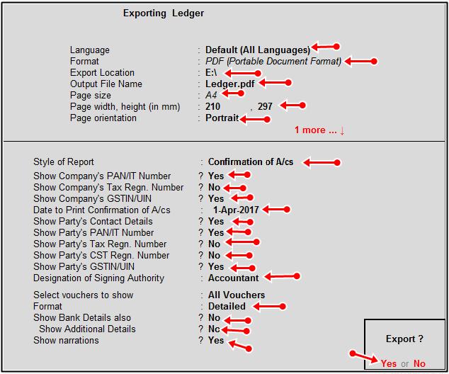 done export details