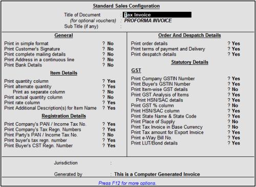 configuration invoice