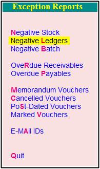 negative ledger