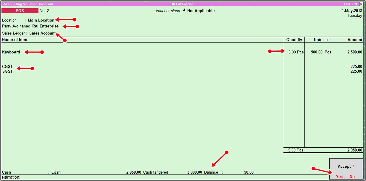 single payment mode pos