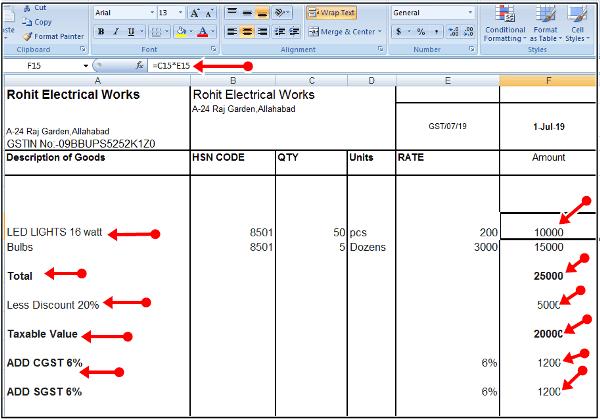 formulla of bill