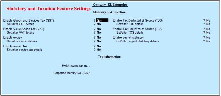 Taxtation setting