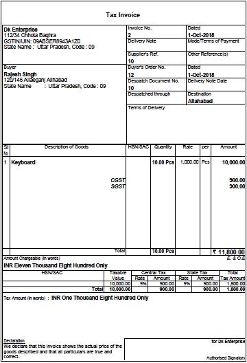 cash tax invoice