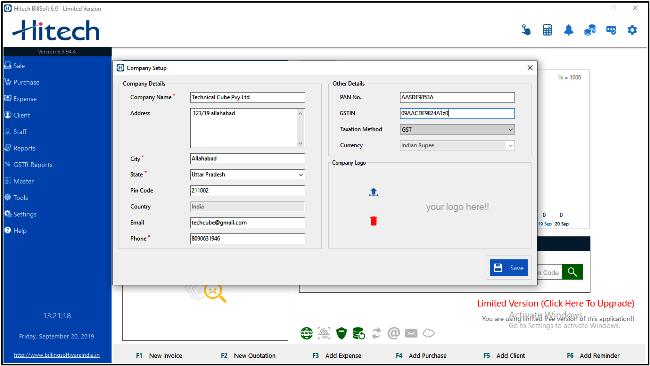 Company details fillup