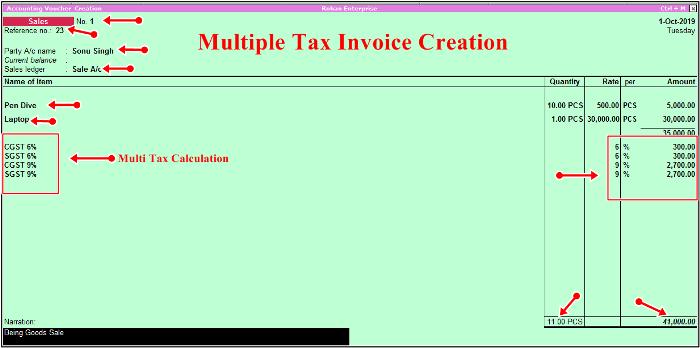 multiple Sale bill