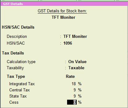 stock item GST