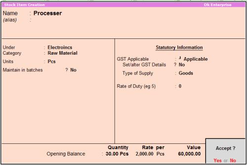 stock item processer
