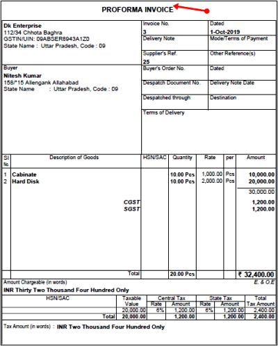 proforma invoice bill