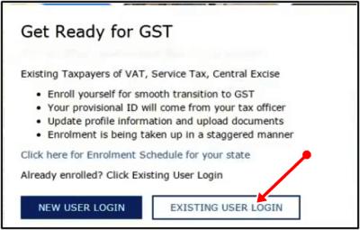 existing user login