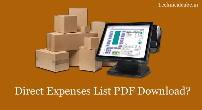 Direct Expenses List PDF Download