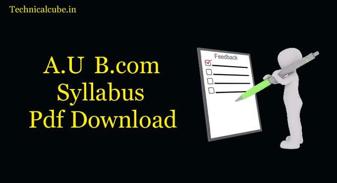 Allahabad University B.com Syllabus Pdf Download